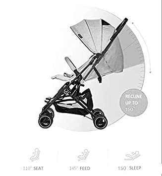 Grey The HT Flight Lightweight Stroller with Rose Gold Frame