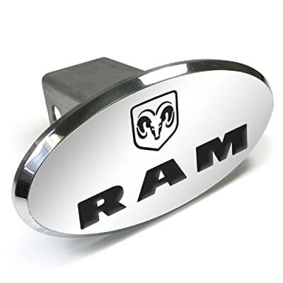 Dodge CarBeyondStore RAM Logo Engraved Oval Aluminum Tow Hitch Cover,Chrome: Automotive
