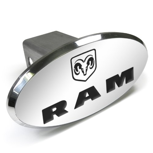 Dodge CarBeyondStore RAM Logo Engraved Oval Aluminum Tow Hitch Cover,Chrome