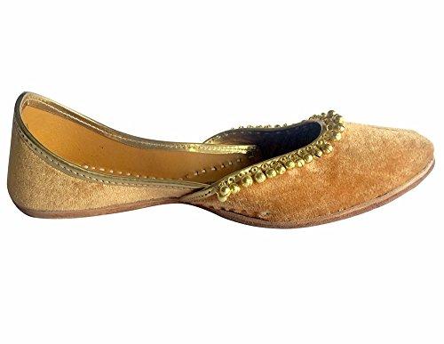 Étape N Style Indien Punjabi Jutti Plat Chaussures De Mariage Designer Chaussures Mojari Khussa Or
