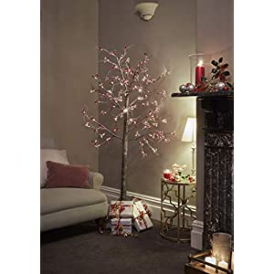 JayMark 7ft (210cm) Pre Lit LED Christmas Tree Snowy Effect Brown with Berries for Indoor & Outdoor Use 101