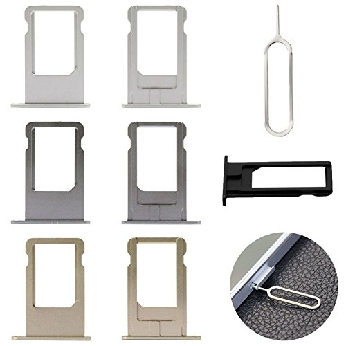 Smart-Uni SIM Card Holder Slot Tray Replacement + Sim Card Remover Eject Pin Key tool for iPhone 5S\ 5 One Set(Silver iPhone5)