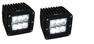 "6KLED 3"" Square 18w Cube LED Spot Off Road RV ATV UTV Quad Side by Side JK Wrangler Rubicon Auxiliary Lighting 10-30v D2 (pack of 2)"