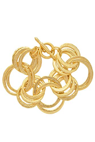 Kenneth Jay Lane Hammered Gold Links Bracelet ()