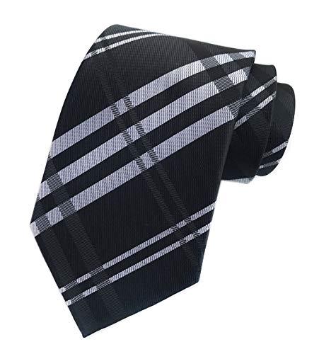 (Elfeves Men's Modern Tartan Checks Plaid Style Formal Ties Woven Pattern Necktie (One Size, Black))