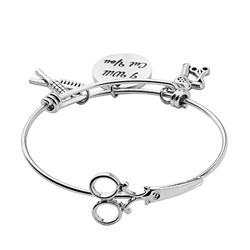 HOLLP Expandable Hairdresser Bracelet Hair Stylist Gift I Will Cut You Hairdresser Jewelry Scissor Bangle Bracelets with Comb Hair Drier Charm Graduation Gift (Style 2)