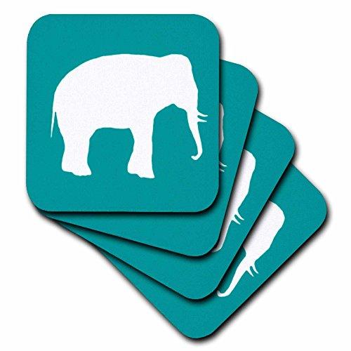 3dRose cst_164913_2 White Elephant Silhouette. Teal Turquoise Aqua Blue Wildlife Animal-Soft Coasters, Set of 8