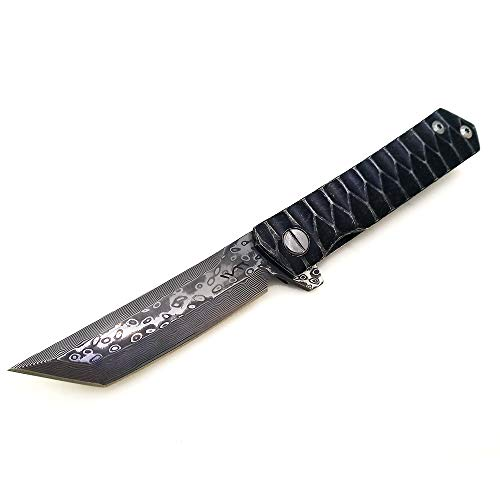BGT Folding Tactical Knives Bearing System Pocket Flipper Knife Tools with Non-Slip Pattern Handle (Damascus Tanto)