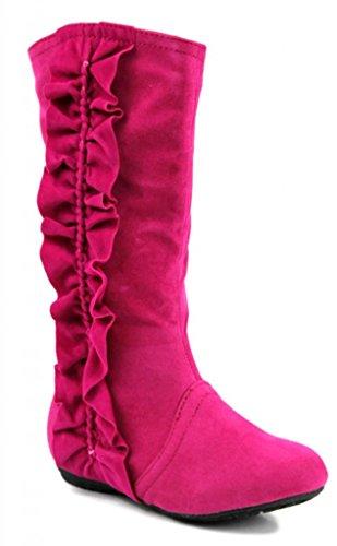 Kali Footwear Girls Event Jr Faux Suede Ruffle Boots,Hot Pink,9 -