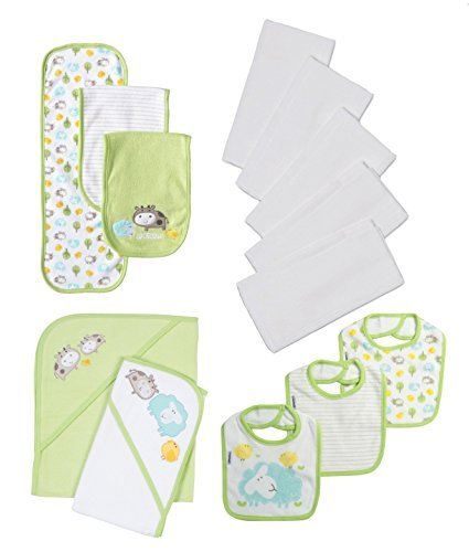 Gerber Unisex-Baby 13-Piece Diapers and Bibs Essentials Gift Bundle Set, Green