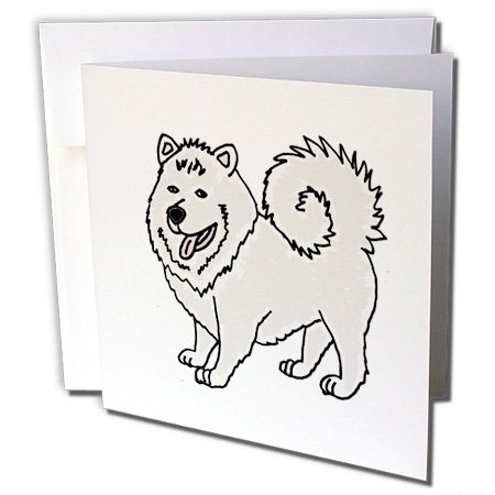 Samoyed Note (All Smiles Art Pets - Funny Cute Samoyed Husky Puppy Dog Art - 6 Greeting Cards with envelopes (gc_245420_1))