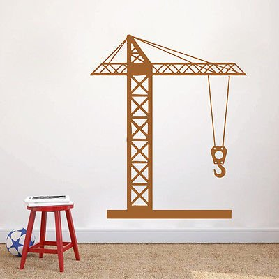 ik1543 Wall Decal Sticker tower crane machine work building a bedroom