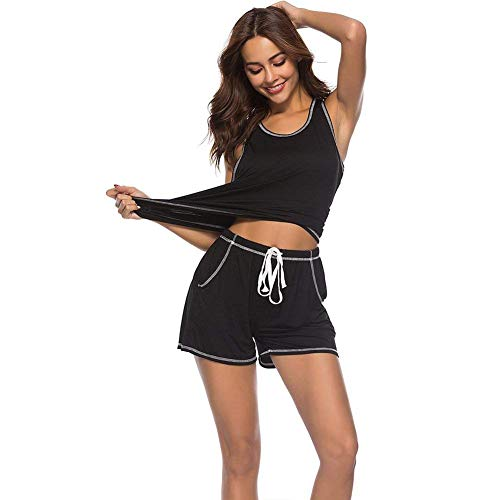 O Pijamas Mujer Bastante Con Camison Taille Schwarz Cuello Camisolas Cordón Elastische Slim Fit Sleeveless Shorts Bolsillos ArRHXnr