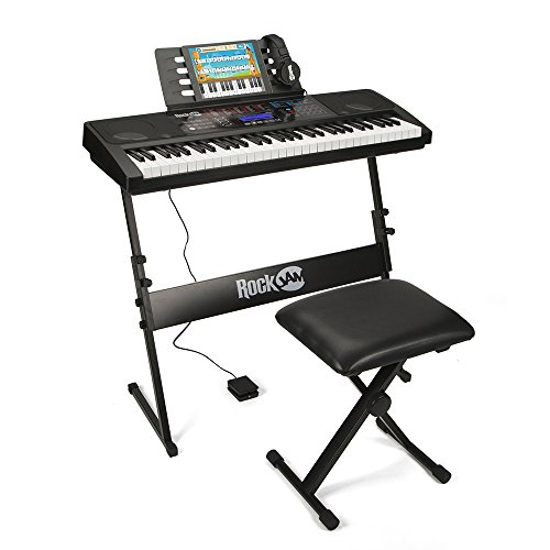 RockJam RJ761 61 Key Electronic Interactive Teaching Piano Keyboard with Stand,...