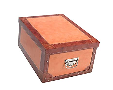 Boite De Rangement Decorative En Carton Marron Cuio De Rangement
