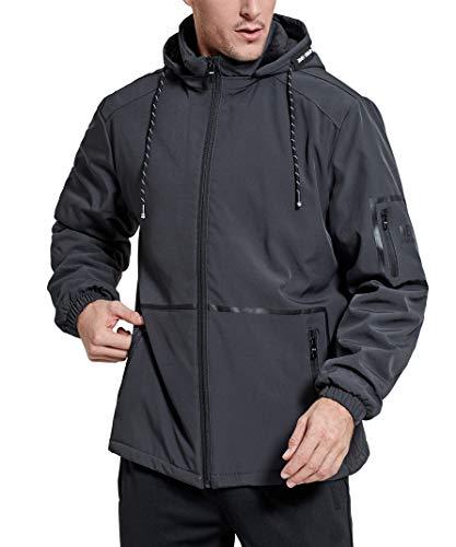 - Men's Hooded Jacket Hiking Lightweight Fleece Lined Outdoor Waterproof Rain Coat Grey XL
