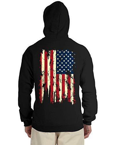 Vintage Distressed USA Flag Back Print Hooded Sweatshirt, Black Large