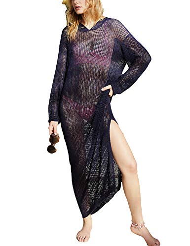 (Ailunsnika Sexy Black Crochet Hollow Long Beach Swimsuit Dress Women Knitted Side Slit Bikini Cover Up with Hat)