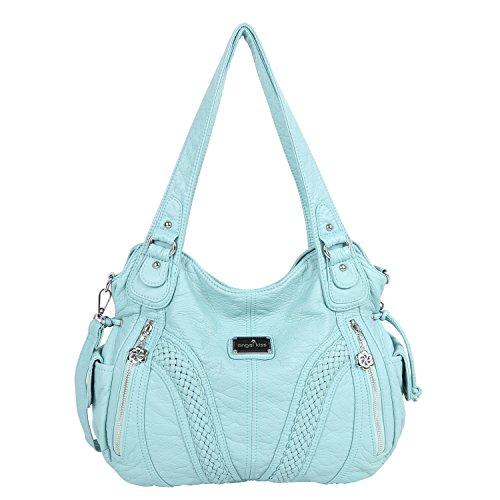 Angelkiss Women Top Handle Satchel Handbags Shoulder Bag Messenger Tote Washed Leather Purses Bag (L,Green) ...