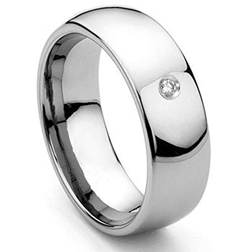 8MM Tungsten Carbide Solitaire Diamond Dome Wedding Band Ring Sz 6.5