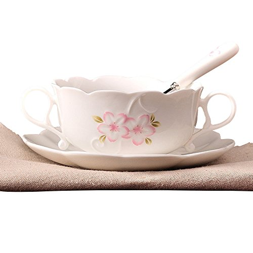 ufengke Modern Large Capacity Porcelain Soup Bowl, Cherry Blossoms Printed Ceramic Dessert Bowl with Saucer and Spoon, for Home Use, White
