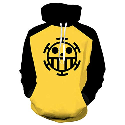 Hibuyer 3D Printing Trafalgar Law Cosplay Costume Casual Heart Pirates Pullover Zip up Hoodie Sweatshirt Unisex (Yellow-2, 4X-Large)]()
