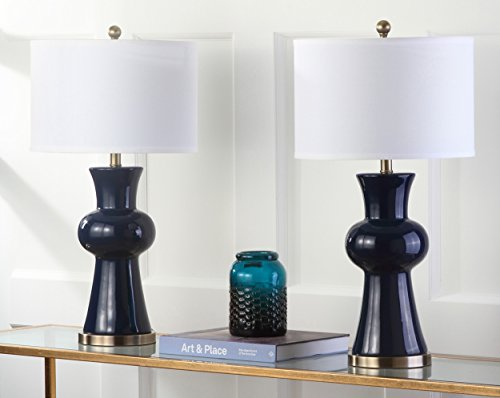 Safavieh Lighting Collection Lola Column Navy 30-inch Table Lamp (Set of 2) by Safavieh