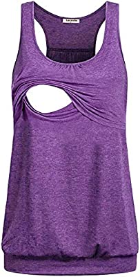 Large, Voilet Larenba Womens Maternity Loose Comfy Pull-up Nursing Tank Tops for Breastfeeding