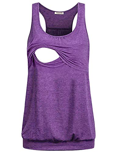Larenba Breastfeeding Tank Tops, Best Sleeveless Nursing Maternity Shirt Tunic Feeding Flattering Cotton Blend Trapeze Double Layer Tops Pregnancy Nursing Outfits for Women Burgundy(Violet,Small)