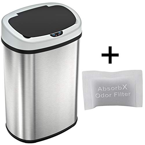 (iTouchless 13 Gallon SensorCan Touchless Trash Can with Odor Control System, Stainless Steel, Oval Shape, Kitchen Bin)