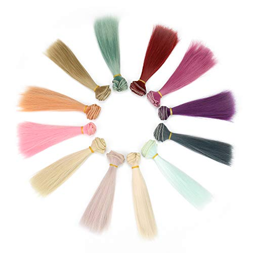 B Set Of 12 Color SD Doll DIY Straight Hair 15cm100cm BJD/- For Arts and Crafts, Doll Making, and More