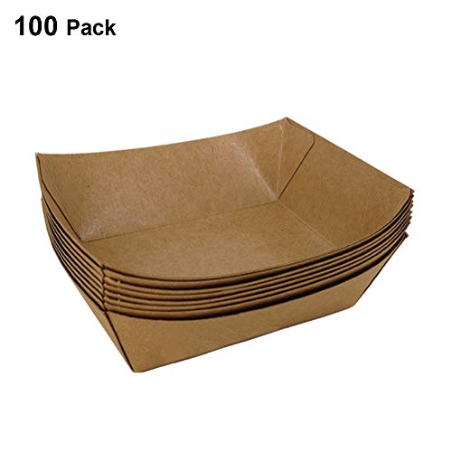 LilyFM Paper Food Tray, 100 Pack Kraft Hot Dog Fried Food Holder Greaseproof Packing Box Disposable Fast Food Box for Snacks Hamburger Sausages 5.5