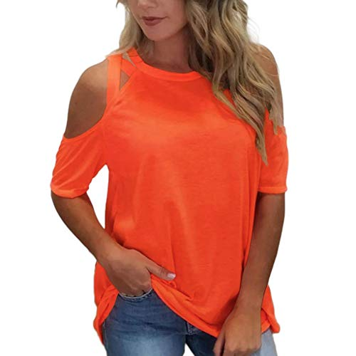 Chilly Shoulder Tops for Ladies, Kiasebu Summer time T Shirt Womens Quick Sleeve Off Shoulder Free Match Pullover Informal High Orange