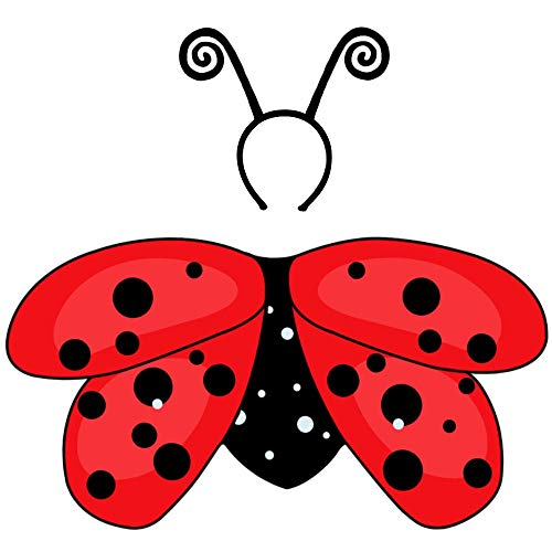 Kids-Ladybug-Costume with Antenna-Headband Girls-Fairy-Wing Set Red-Black