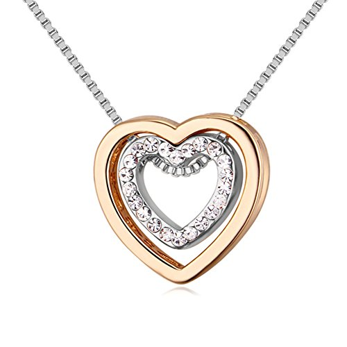 Showfay Love Heart Necklace - Crystal from Swarovski Rose Gold Plated Pendant Necklace for Women Mom Gift (Gold&White)