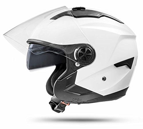 Jet Helm LA Street Motorradhelm mit Doppelvisier System Integrierte Visiermechanik 4 punkt Belüftung und neuster Sicherheitsnorm ECE 2205 Größe: M 57-58cm