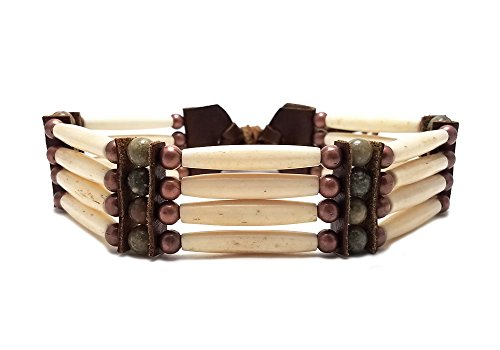 Local Bead Shop Handmade Traditional Antiqued 4 Row Buffalo Bone Hairpipe Tribal Choker Necklace