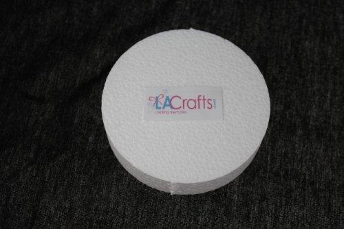 LA Crafts Brand 4x1 Inch Smooth Foam Craft Disc - 12 Pack (Craft Foam Circles)