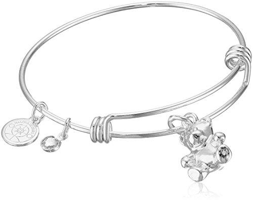 (Halos & Glories, Teddy Bear Charm Shiny Silver Bangle Bracelet)