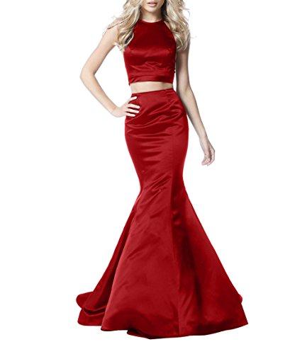 Rot Partykleider Zwei Jugendweihe Kleider Lang Satin Brau Abendkleider mia teilig Festlichkleider Ballkleider La Meerjungfrau SfBHxUwRnq