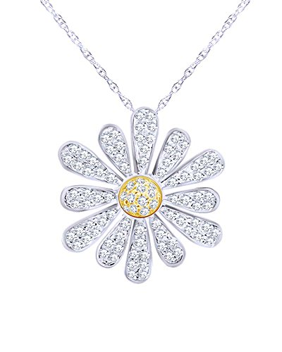 Wishrocks Round Cut Natural Diamond Daisy Pendant Necklace in 14K White Gold Over Sterling Silver (0.50 - Daisy Diamond Necklace Gold