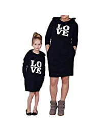WIFORNT Mommy and Me Matching Love Printed Pullover Hoodies Dress with Pockets