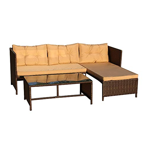 ALEKO RTF010BR Rattan Wicker 3-Piece Indoor Outdoor Sectional Furniture Lounge and Table Set ()