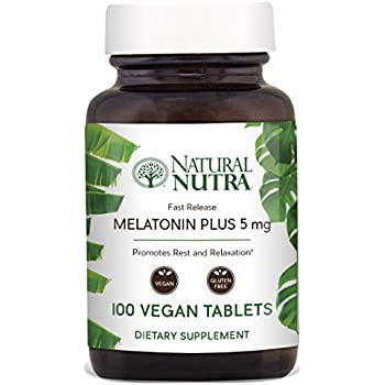 Natural Nutra Vegan Melatonin 5mg with B6, Fast Dissolve, Time Release with Calcium for Optimal Sleep, Rest and Relaxation, Gluten Free, 100 Tablets