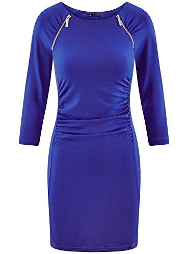 Collection Donna 7500n oodji Aderente Zip Blu Abito Decorative con P4dfzqw