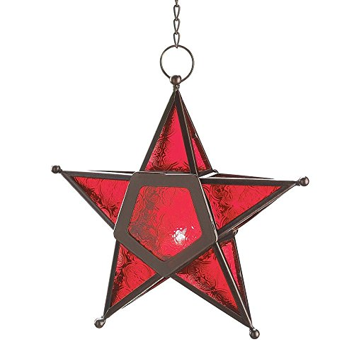 CraftVatika Metal Red Glass Star Tea Light Candle Holder Hanging Light Lamp | Decorative Candle Lanterns For Home Bar Living Room Wedding Party Decoration by CraftVatika