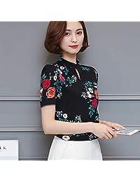 XuBa Women Blouses 2017 Casual Elegant OL Chiffon Blouse Short Sleeve Work Wear Blusas Tops Shirts Plus Size XXXL Black