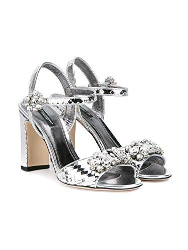 Dolce E Gabbana Kvinder Cr0220ae7028d710 Sølv Læder Sandaler zChIq