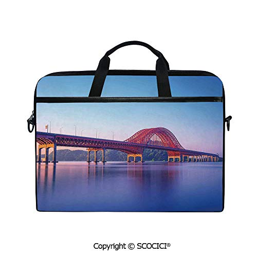 Mobile Edge Select Leather - Durable Waterproof Printed Laptop Shoulderr Bag Banghwa Bridge and Han River Seoul Korea Contemporary Architecture Picture Computer Briefcases for 15 inch