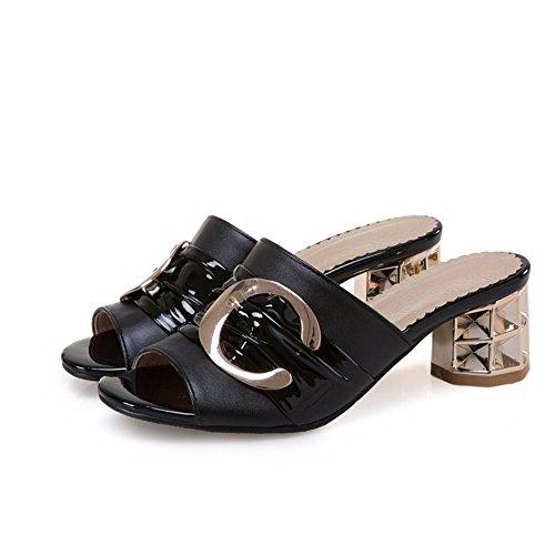 mujer de zapatos black Verano mujer zapatos de decorativo sandalias Zapatillas tacón C de gran tamaño metal de wEtwSHq